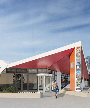 render of planned entrance to new oak park facility
