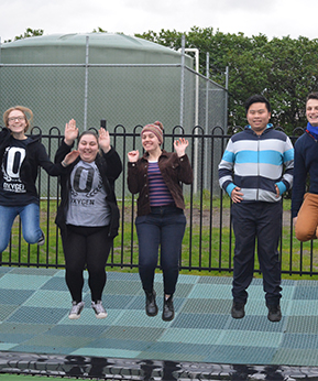 Oxygen youth committee jumping on the new trampoline
